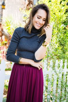 """""""The key to wearing this skirt casually, is to mix up your textures, a soft knit or cashmere sweater in a neutral (loving grey this season) is the perfect contrast."""" - Louise Roe Fall fashion advice for 2015   more #StJohnKnits"""