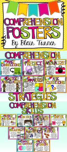 Reading Comprehension Posters! Cute posters with student-friendly explanations and visual cues on chevron backgrounds for comprehension strategies and skills. $