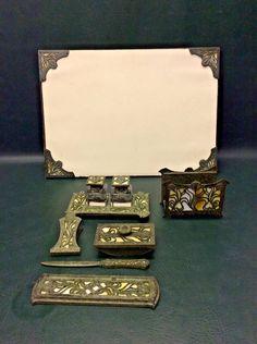 Fine Arts & Crafts 7 Pcs. Bronze & Metal Slag Glass Desk Set Bradley Hubbard ?  #ArtsCraftsMissionStyle
