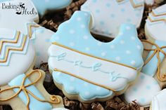 Chevron Baby Shower Cookies It's A Boy Decorated by Bakinginheels