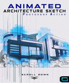 Animated Architecture Sketch Photoshop Action - Photo Effects Actions