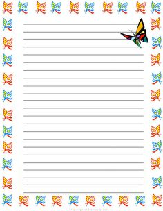girl butterflies Free printable kids stationery, free printable writing paper for kids, Regular lined writing paper