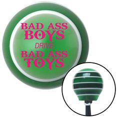 Pink Bad Ass Boys Drive Bad Ass Toys Green Stripe Shift Knob with M16 x 15 Insert - Give your interior the ultimate look. American Shifter's Elite(TM) series shift knobs are made from the highest quality components resulting in a superior feel on every shift. Each shift knob is designed and customized in the USA by skilled shift knob artisans who have a trained eye on every detail. American Shifters shift knobs offers an exclusive aluminum threaded insert designed to be screwed onto your…