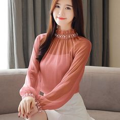 Spring new chiffon blouse long sleeve tops and blouses lace - ecofashionova Blouse Designs, Blouse Styles, Hijab Styles, Sleeves Designs For Dresses, Stylish Dresses For Girls, Long Blouse, Chiffon Tops, Chiffon Blouses, Blouses For Women