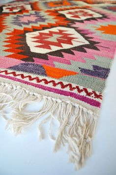 Sukan / VINTAGE Turkish Kilim Rug Carpet handwoven kilim by sukan / quilt in these colors