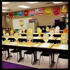 Mrs. Olson's Lucky Little Learners: self portraits at desks for parent conference night