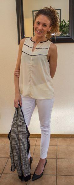 White Skinny Pants, Tweed Jacket - Winter White Layers