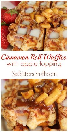 Cinnamon Roll Waffles with Apple Topping on Six Sisters' Stuff | This will become a quick family favorite recipe! Waffles made out of cinnamon roll dough and topped with a delicious caramel apple topping! These are amazing and so easy!