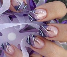 44 Cute Holiday Nail Art Design Ideas Match For Fall .- 44 Cute Holiday Nail Art Design Ideas Match for Fall and Winter Season – # design # holiday # ideas # art # nail - Purple Nail Art, Purple Nail Designs, French Nail Designs, Nail Art Designs, Nails Design, Purple Makeup, Purple Wedding Nails, French Nails, French Pedicure