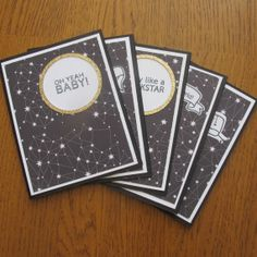 Handmade Card Set- Galactic Friendship Cards, Black, White with Gold Accents $12// Hot Wheels and Glue Guns on Etsy
