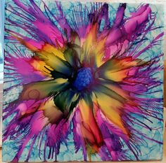 Indigo center for flower.  Flower in alcohol ink by tina