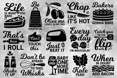 Kitchen svg bundle, kitchen utensils svg, chef svg, kitchen towel svg, cooking svg, song svg, kitchen quote svg, dxf files,svg files, svg by CrystalGiftsStudio DesignBundles.net bakers gonna bake - catch you on the FLIP - every day Im brusselin' * Chop it like it's hot * olive me loves olive you * bacon * kale yeah * wine * beat it * whisks * shake it up S/P * grateful * Life