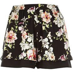 River Island Black floral print shorts