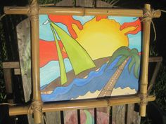 ratster surf tiki beach art sail boat / painted by Tiki Jammie