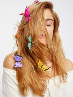 Butterfly Hair Clip - 7 Pack | Pack of 7 stunning butterfly clips in beautiful hues. Clip easily into braids or loose locks for a nature-inspired look. Handmade in the USA.