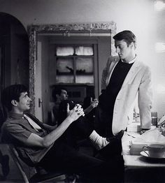 Anthony Perkins and dancer Grover Dale behind the stage of Greenwillow.