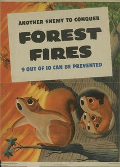 """""""Another Enemy to Conquer: Forest Fires; 9 Out of 10 Can Be Prevented,"""" From the records of the Forest Service. Vintage Advertisements, Vintage Ads, United States Forest Service, Ww2 Posters, Wildland Firefighter, Smokey The Bears, Propaganda Art, Mystery Of History, Woodland Creatures"""