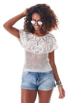 Blusa de Crochê com Pala - Linha Anne Brilho Ouro - Blog do Bazar Horizonte - Maior Armarinho Virtual do Brasil