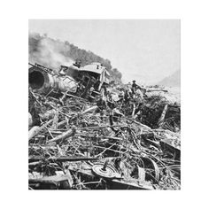Johnstown Flood Train Wreck Vintage 1889 Stretched Canvas Print
