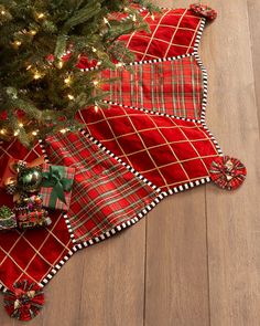 MacKenzie-Childs Gala Tree Skirt mixes red & green tartan plaid with sequined embroidery! Tartan Christmas, Christmas Skirt, Christmas Sewing, Plaid Christmas, Christmas Projects, Christmas Stockings, Crochet Christmas, Christmas Aprons, Xmas Tree Skirts