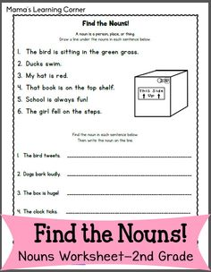 Find the Nouns Worksheet for 2nd Graders