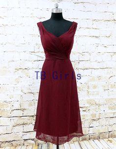 2015 Bridesmaid Dress Short Burgundy V Neck Chiffon by TBgirls