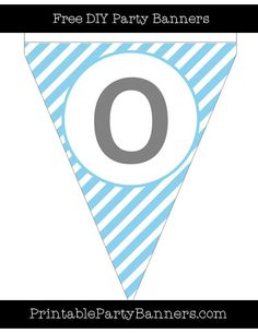 Baby Blue and White Pennant Diagonal Striped Capital Letter O