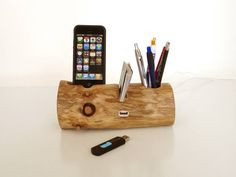 Card holder / Pen Holder / iPhone Dock / extra USB port - ( unique desk / office accessory ) on Etsy, 57,01€