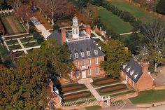 Aerial view of the Governor's Palace Colonial Williamsburg. Photo by David M. Doody.