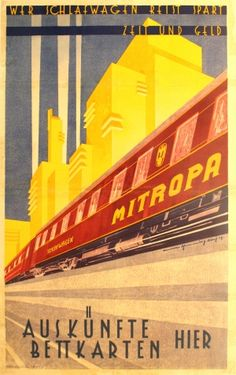 Mitropa Sleeping Cars Railway Art Deco, 1929 - original vintage poster by Walter Hemming listed on AntikBar.co.uk