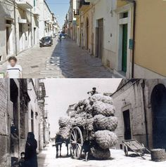 Via Marsala, San Severo, Italy, as my father saw it during World War Two and a photo of the same place today. Present day photo courtesy of Saverio d'Incalci, San Severo, Italy