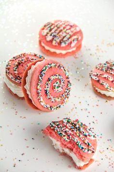 strawberry milk whoopie pies swirl sprinkles