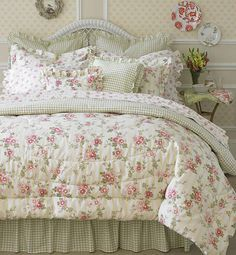 Laura Ashley Yorkshire Rose 4-piece Comforter Set - Overstock™ Shopping - Great Deals on Comforter Sets