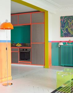Bold tropical colors and geometric shapes.