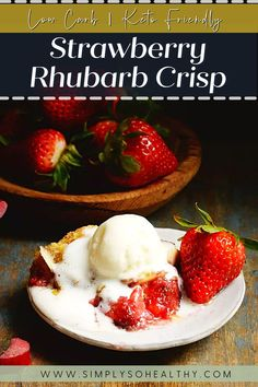 This recipe for Low-Carb Strawberry Rhubarb Crisp will make a guilt-free dessert you love. This dessert is bursting with fruity goodness. Top it with our keto vanilla ice cream to make it even more decadent. 🍓🍴😋 #lowcarb #keto #glutenfree #sugarfree #Atkins #diabetic #lowcarbdessert #ketodessert Delicious Desserts, Yummy Food, Strawberry Rhubarb Crisp, Low Carb Desserts, Sugar Free, Guilt Free, Atkins, Breakfast, Glutenfree