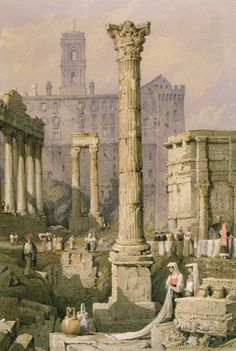Samuel Prout (1783-1852) : View of the Forum, Rome (19th c.) beautiful watercolour