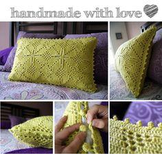 crochet pillow cover... funda de cojin en crochet
