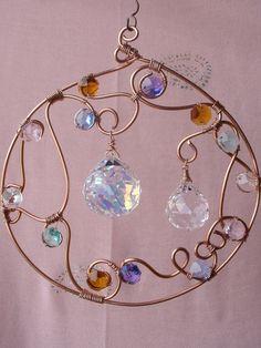 Copper wire, prisms, & beads suncatcher   . . . .   ღTrish W ~ http://www.pinterest.com/trishw/  . . . .  #wire_wrapping