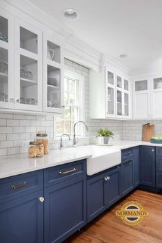 Cool Blue Transitional Kitchen decor blue kitchen White Kitchen Cabinets Blue Cool Decor Home Kitchen Transitional Home Kitchens, Kitchen Remodel Small, Kitchen Design, Modern Kitchen, Home Decor Kitchen, Kitchen Interior, Transitional Kitchen, Kitchen Cabinets Decor, Kitchen Cabinets
