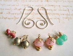 Interchangeable Gold Earrings Pink Green by BellaAnelaJewelry, $36.00