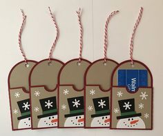 Handmade Set of 5 Snowman Gift Card Holders, Christmas, Gift Card, Snowman, Snowflakes by JuliesPaperCrafts on Etsy https://www.etsy.com/listing/548726024/handmade-set-of-5-snowman-gift-card