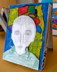 Self-Portraits on a Pizza Box in Grade 3