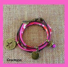 Bracelet liberty mitsi fuchsia : Bracelet par crocmyys