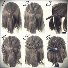 Half Up Hairstyles For Brief Hair # Hair # Coiffure # Coiffure Haircourt # Coiffure Hairlong Half Up Half Down Short Hair, Half Up Half Down Hair Tutorial, Easy Hairstyles For Long Hair, Amazing Hairstyles, Short Braided Hairstyles, Homecoming Hairstyles Short Hair, Trendy Hairstyles, Easy Elegant Hairstyles, Simple Hairstyles For School