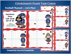 This set of 30 task cards focuses on the skill of finding ordered pairs within a four-quadrant coordinate plane.  I am always looking for meaningful practice for students other than worksheet after worksheet.  If you are the same, you will love this alternative.These cards work wonderfully as a formative assessment.This football-themed activity is sure to engage your students while practicing finding x and y coordinates on a coordinate grid.The cards can be used in a whole group, small…