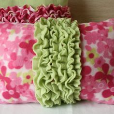 fuzzy fleece hot pink flowers and lime green ruffle pillow (Barbie collection)