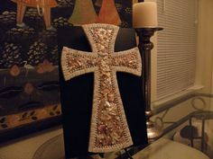 Natural Mother of Pearl Mosaic Wall Cross by glassyladiesstudio, $40.00