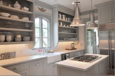 Grey cabinets, open shelving. Sally Wheat kitchen.