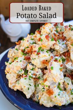 Loaded Bacon Cheddar Baked Potato Salad The classic potato salad gets a makeover with oven-baked potatoes bacon cheddar chives and a salad base of sour cream mayo and Greek yogurt The Complete Savorist Loaded Baked Potato Salad, Best Potato Salad Recipe, Ranch Potato Salad, Southern Potato Salad, Classic Potato Salad, Baked Potato Oven, Creamy Potato Salad, Potato Salad With Egg, Oven Baked