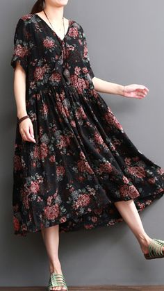 V neck floral cotton dresses maternity maxi dress sundress